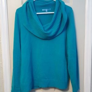 Turquoise cowl neck cashmere sweater